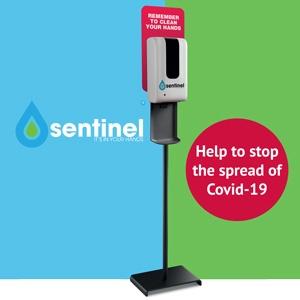 Sentinel free-standing zero contact hand sanitiser