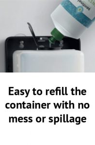 Easy to refill the container with no mess or spillage